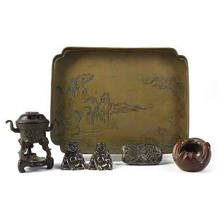 Grp: 6 Chinese Japanese Bronze Silver Wood Objects