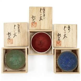 Grp: 3 Sake Bowls/Cups - Furukawa Toshio