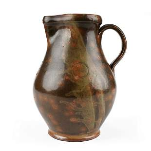 19th c. Pennsylvania Redware Pitcher