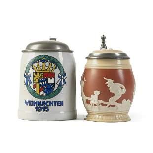Grp: 2 Antique German Mettlach Pottery Beer Steins