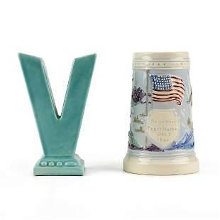 Grp: 2 Metlox Pottery WWII Patriotic Victory Vase &