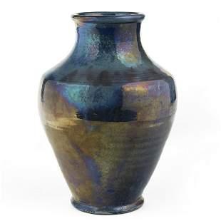 Large Pewabic Pottery Vase with Iridescent Glaze