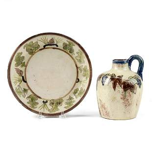 Grp: 2 1940s Decorated Brown County Pottery Indiana