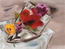 Ward Lockwood Floral Still Life Acrylic on Canvas