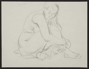 Paul Cadmus Female Nude Charcoal Drawing