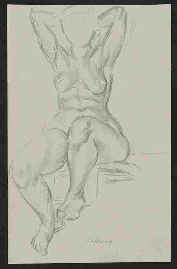 Paul Cadmus Seated Female Nude Graphite on Paper