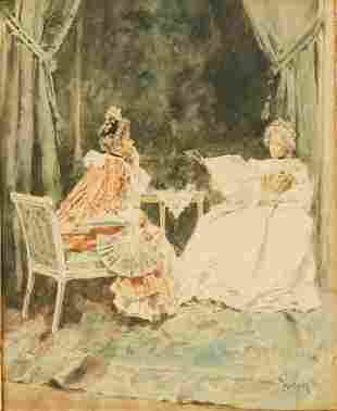 Mariano Fortuny Watercolor on Board