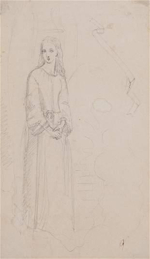 Attributed Queen Victoria Angel Graphite Sketch