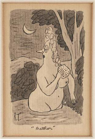 "Richard Taylor ""Bather"" Pen & Ink"