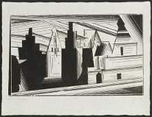 """Lyonel Feininger """"Old Gables in Luneburg"""" Woodcut"""