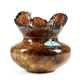 Jimmy Cook Turquoise Burl Wood Vase