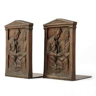Decorative Arts League NYC Bronze Lincoln Bookends