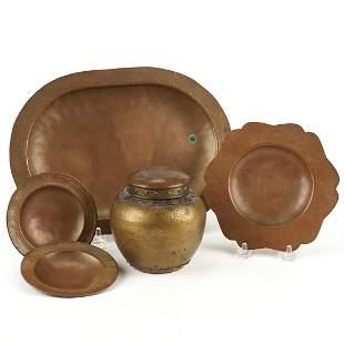 Grp: 5 Arts & Crafts Hammered Copper Wares