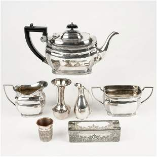 Grp: 7 Silver Plated Wares - Tea Set - Bud Vase