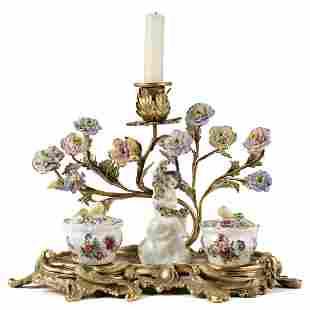 Rococo Style Gilt Bronze Candelabra w/ Porcelain Cherub