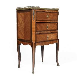 French Empire Marble Top Table Chest of Drawers