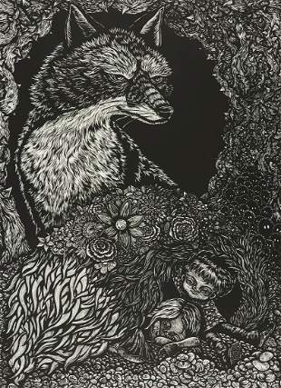 """Jun Lee """"Our Time in the Meadow"""" Woodcut"""