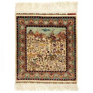 Persian Hand Woven Hunting Scene Silk Rug