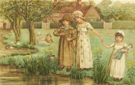 Kate Greenaway Children Fishing Watercolor