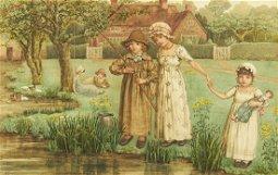 Kate Greenaway Children Fishing Watercolor