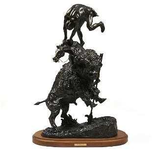 """Frederic Remington """"The Buffalo Horse"""" Bronze Sculpture"""