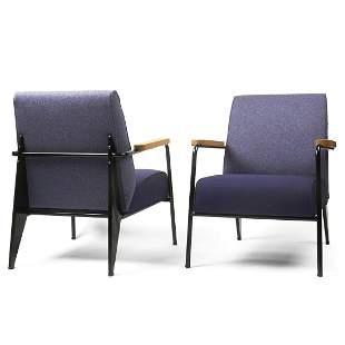 Pair of Jean Prouve Fauteuil de Salon Armchairs
