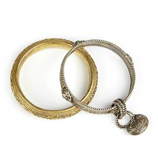 Grp: 2 Chinese Gilt Silver Bangles