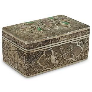 Chinese Republic Silver & Hardstone Filigree Box