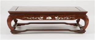 Chinese Inlaid Burl Wood Stand