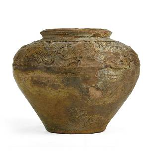 Chinese Tang Impressed Jar with Yellow Green Glaze