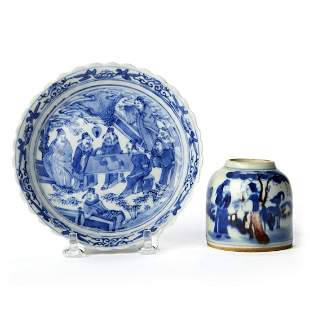 Grp: 2 18th c. Chinese Blue & White Porcelain Wares