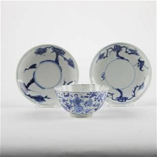 Grp: 3 Chinese Blue & White Porcelain Pcs