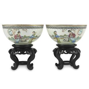Pair of Chinese Republic Eggshell Porcelain Bowls