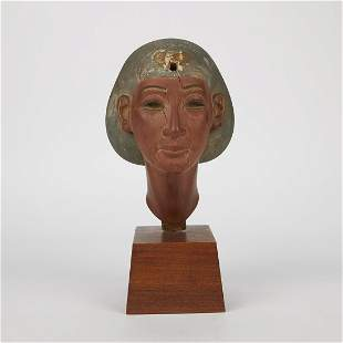 Carved Wooden Egyptian Bust Amarna Style
