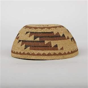 Hupa Polychrome Woven Basket Hat