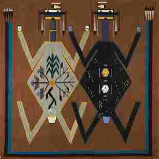 Navajo Yei Pictorial Woven Blanket / Rug