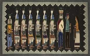 Navajo Yei Pictorial Rug Blanket Weaving - Mary Nocki