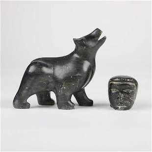Inuit Head & Zoomorphic Bear Stone Carvings
