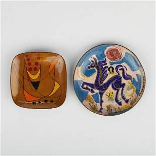 Pineda & Cervantes 1950s Enamel Art Metal Trays