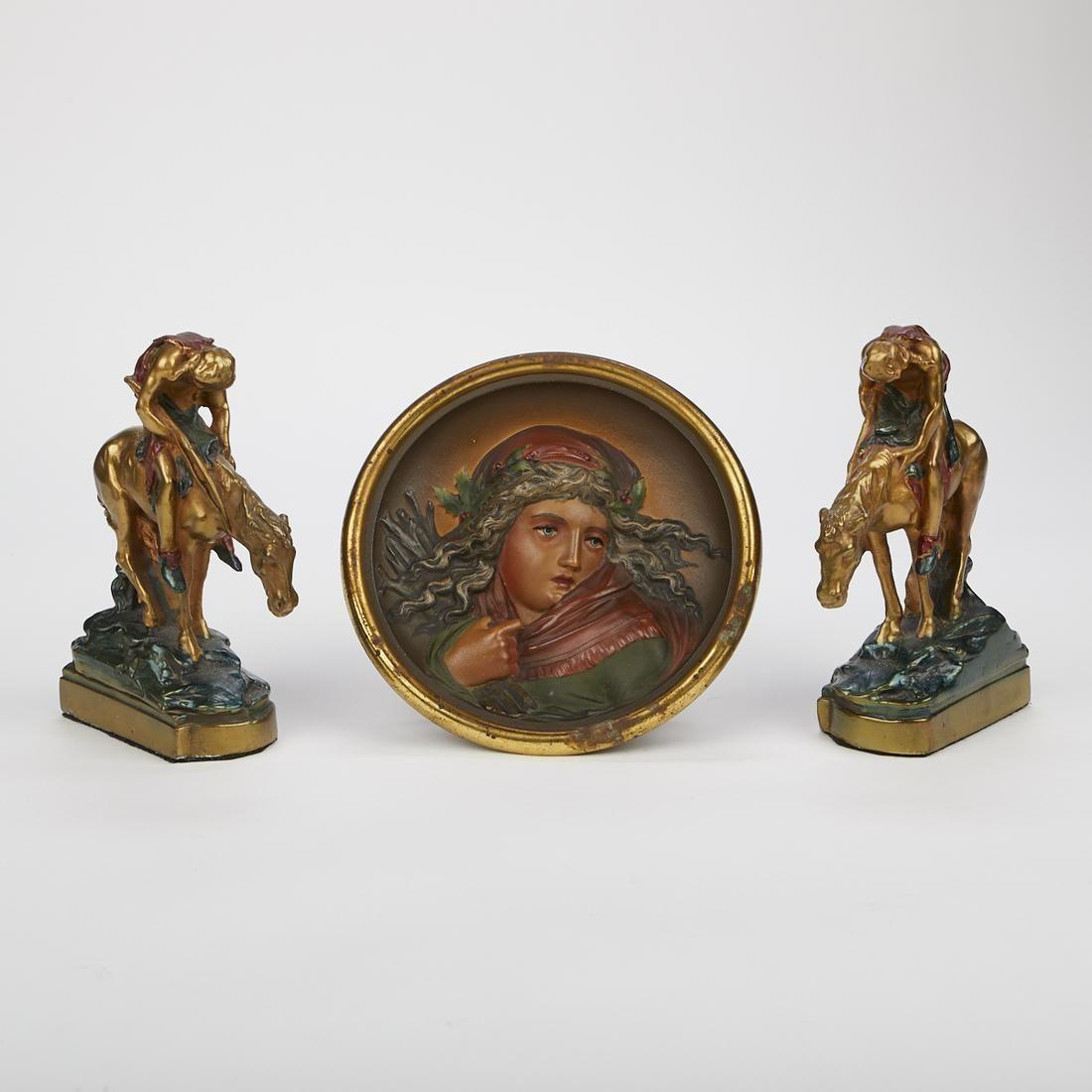 Pompeian Bronze Bookends & Bradley Hubbard Iron Plaque
