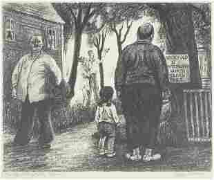 """Peggy Bacon """"The Sights of the Town"""" Lithograph"""