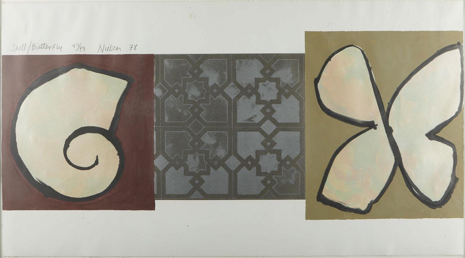 """Stuart Nielsen """"Shell-Butterfly"""" Collage 1978"""
