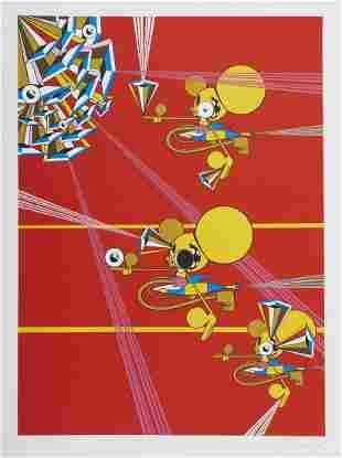 "Grp: 2 Dalek Screenprints - ""Untitled (Decoder Ring)"" &"