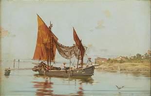 Italian School Fishing Boat Oil on Board