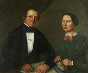19th c. American School Double Portrait Oil on Canvas
