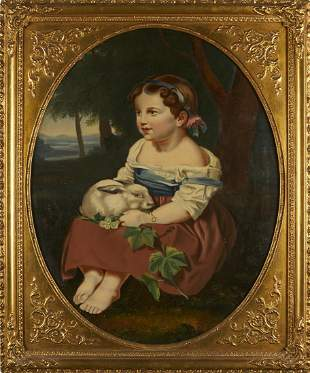 19th c. Continental School Girl with Rabbit Painting