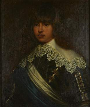 19th c. Continental School Painting Portrait of Young