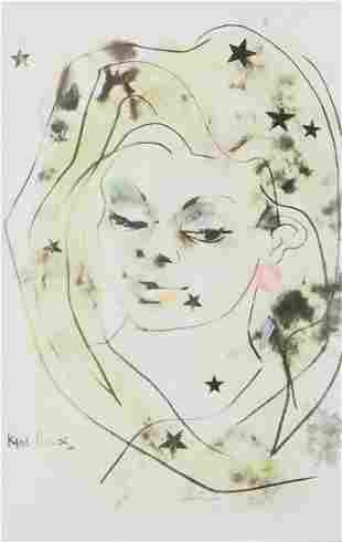 Karl Priebe Lady with Stars Painting on Print