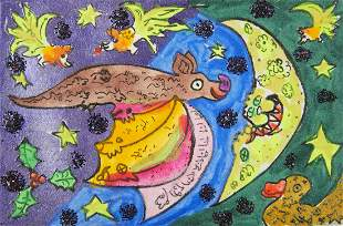 "Maija Peeples-Bright ""Holly Bat"" Drawing"