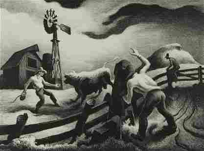 "Thomas Hart Benton ""Photographing the Bull"" Lithograph"